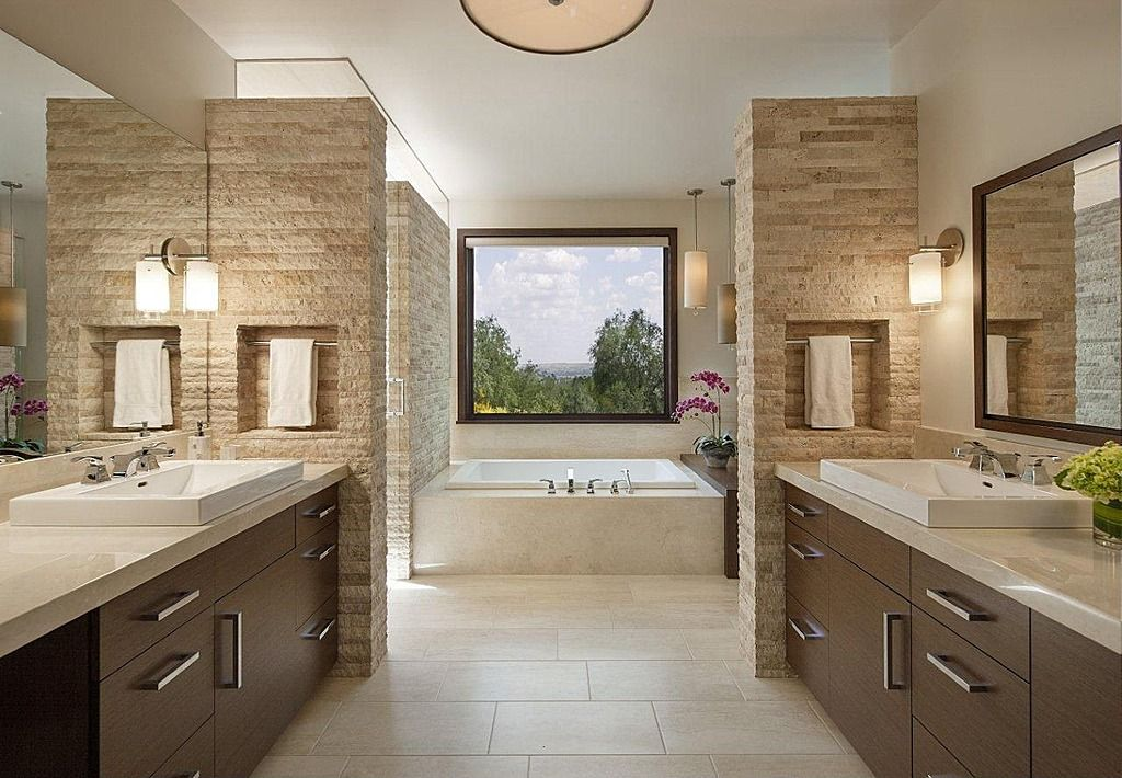 Contemporary master bathroom with porcelain tile floor for Modern master bathroom