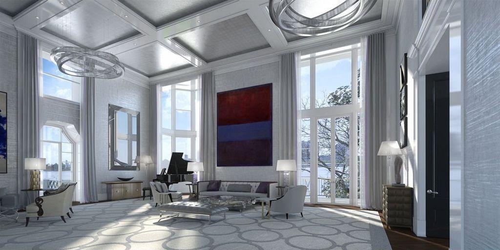 Art Deco Living Room art deco living room with crown molding & interior wallpaper