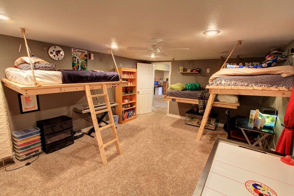 Rustic kids bedroom with ceiling fan carpet in denver for Diy rustic bunk beds