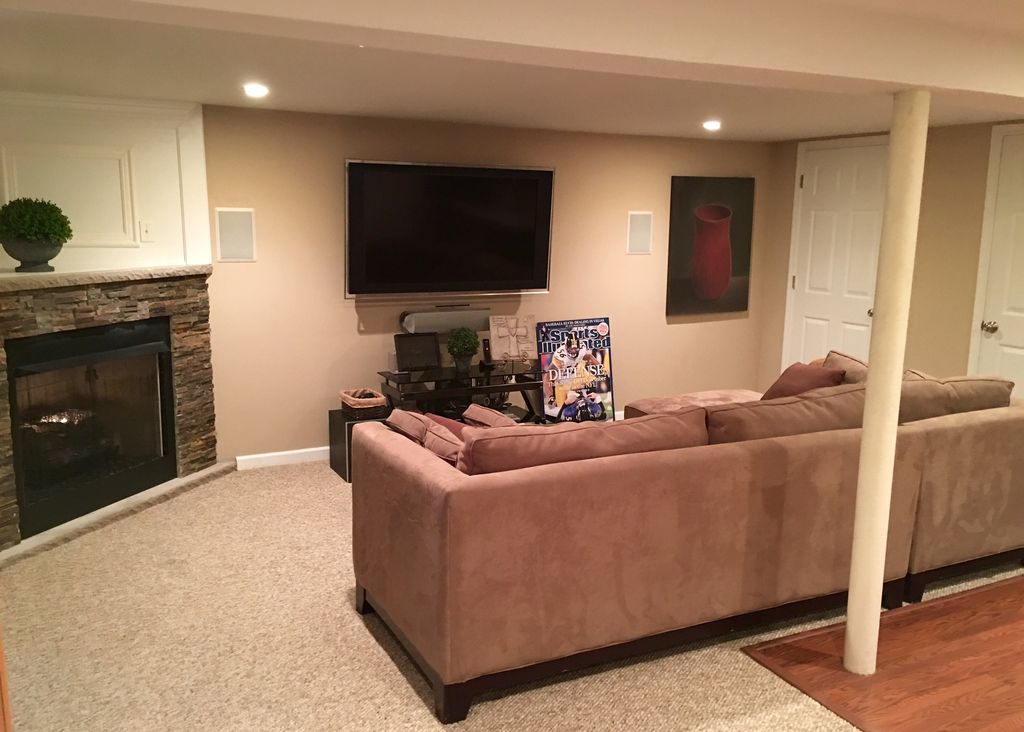 Traditional Basement With Hardwood Floors, Carpet, Metal Fireplace,  Columns, High Ceiling,