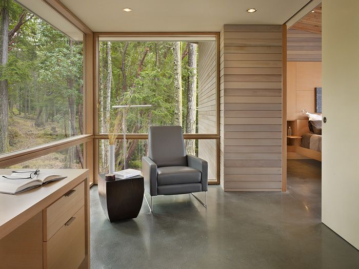 Contemporary Home Office With Concrete Floors, Stained Concrete Floor