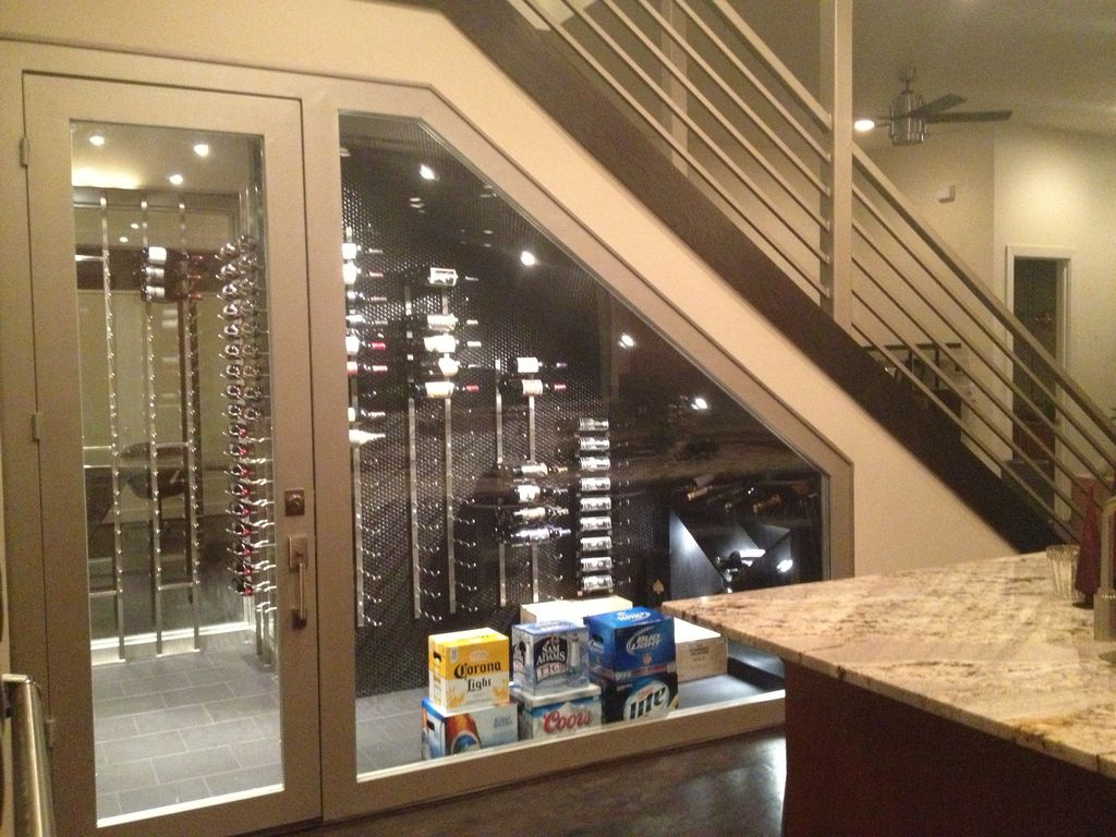 contemporary wine cellar with custom wine storage by  - contemporary wine cellar with custom wine storage high ceiling complexgranite counters