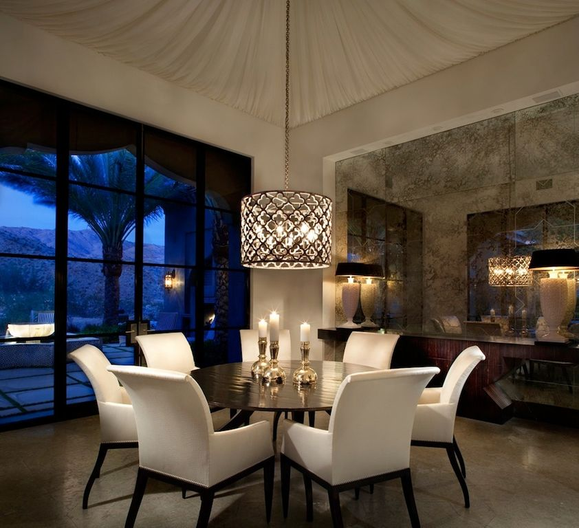 Contemporary Dining Room With IRONIES 560 ASILAH CHANDELIER POTTERY BARN COMFORT SQUARE UPHOLSTERED ARM CHAIR