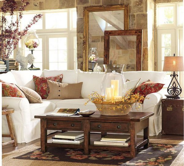French Country Cottage Living Room: Cottage Living Room With French Country & Rock Wall
