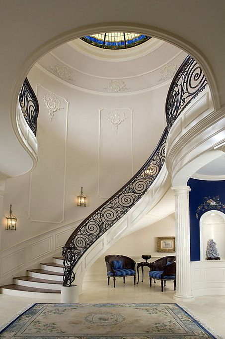 Traditional Staircase With Architectural Detail Column