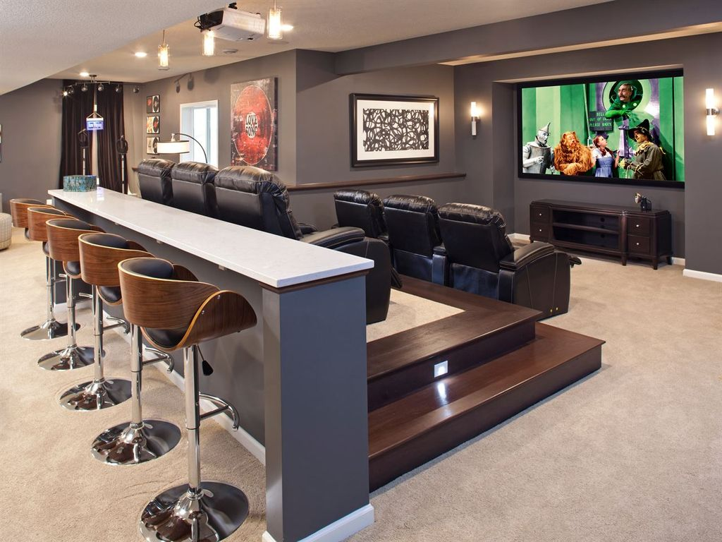 Contemporary Home Theater With High Ceiling Amp Carpet