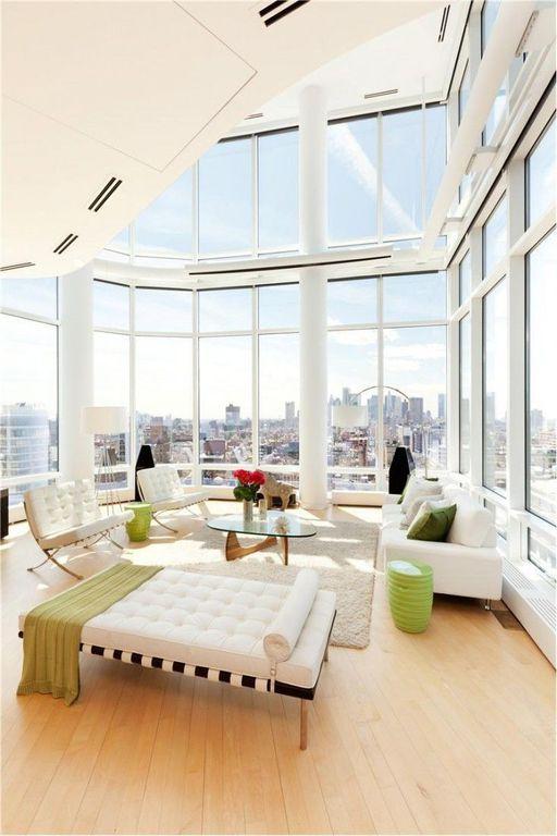 Modern Living Room With Hardwood Floors, Carpet, Mies Van Der Rohe Barcelona  Chair,