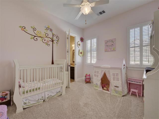 Traditional Kids Bedroom With Ceiling Fan, Mural, Carpet