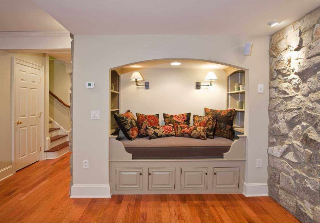 Traditional Living Room With Hardwood Floors, Natural Stone Wall, Built In  Bookshelf, Part 50