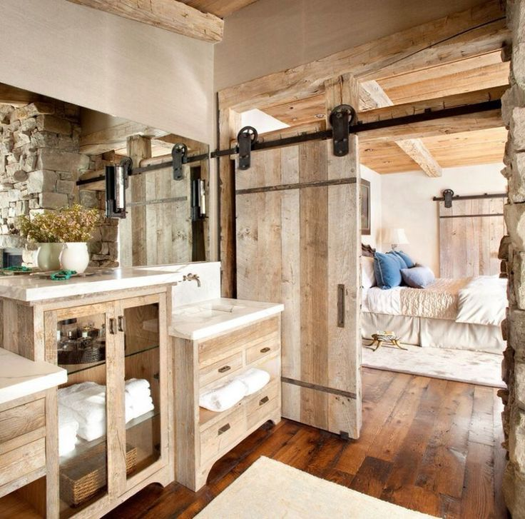 Rustic Chic Bathroom Vanity country master bathroom with high ceiling & undermount sink