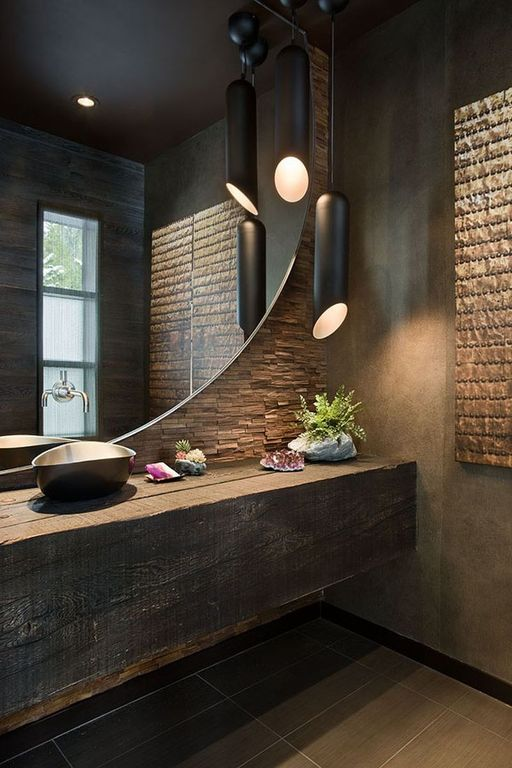 contemporary powder room with slate tile stone tile