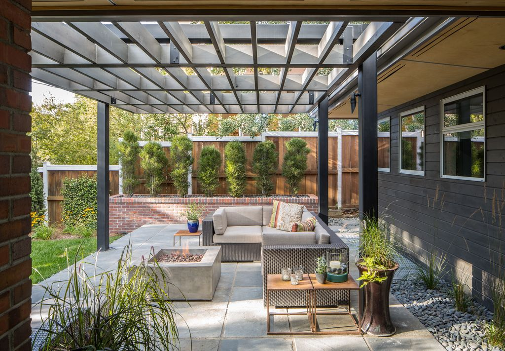 3 tags modern patio with trellis vanbuskirk 6 piece seating group with cushion pathway fire - Patio Designs Ideas