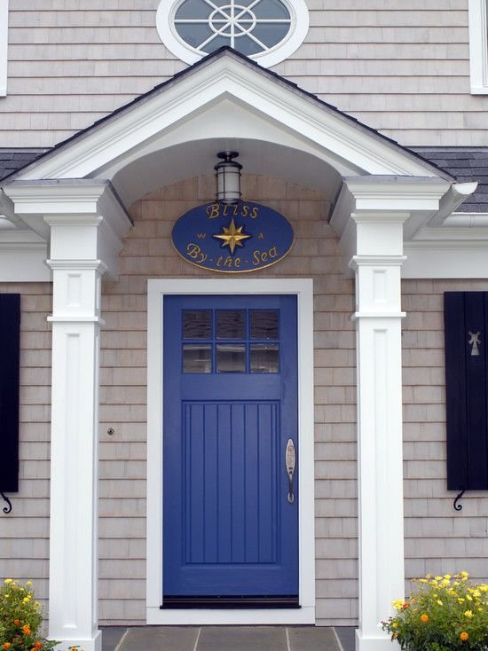 Exceptional Front Door Columns Part - 4: Cottage Front Door With Glass Panel Door, Exterior Tile Floors, Cedar  Shingle Siding,