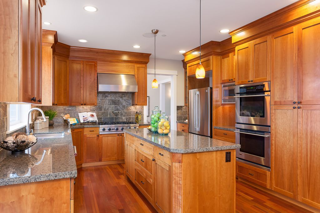 craftsman kitchen with stone tile & u-shaped in bellevue, wa