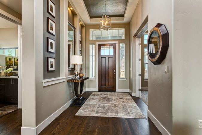 Traditional Foyer Photos : Traditional entryway with glass panel door chandelier