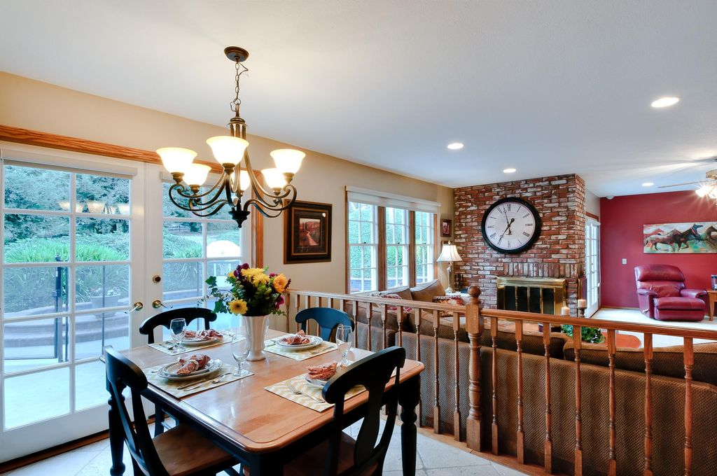 Country Dining Room With French Doors Interior Brick Wall Wood Divider Open