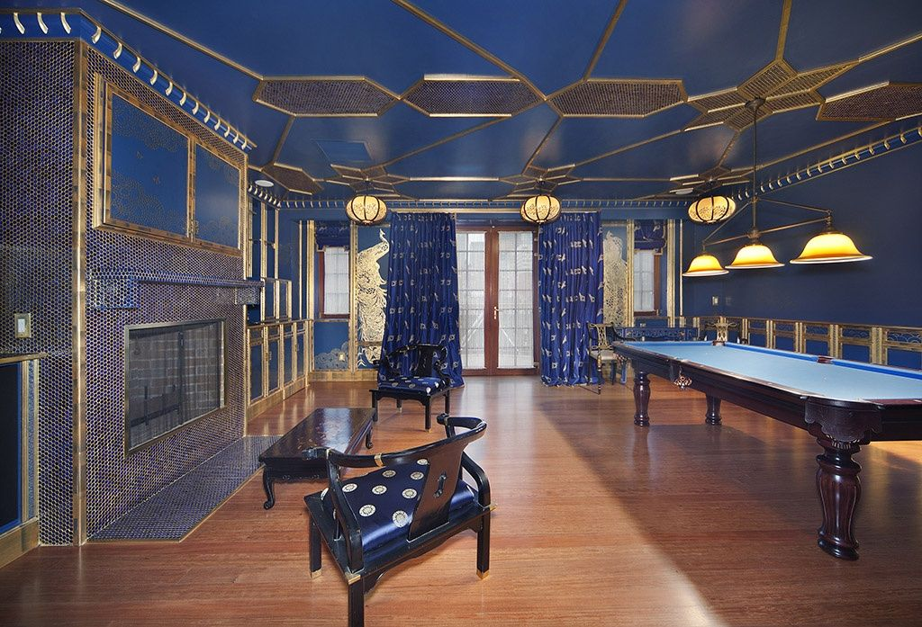 Art deco game room with french doors by the corcoran group art deco game room with pendant light interior wallpaper wainscoting flush light sciox Images