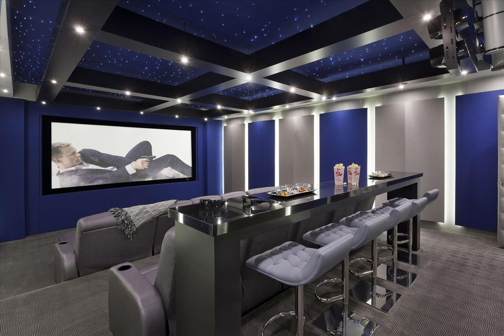 Contemporary Home Theater With High Ceiling Carpet In