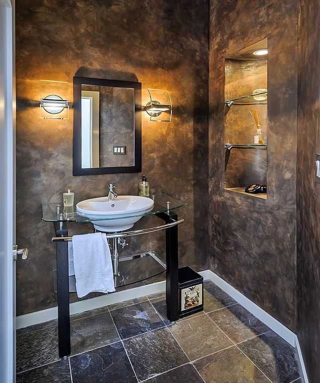 Modern powder room with console sink by gina haggarty for Room design 4x4