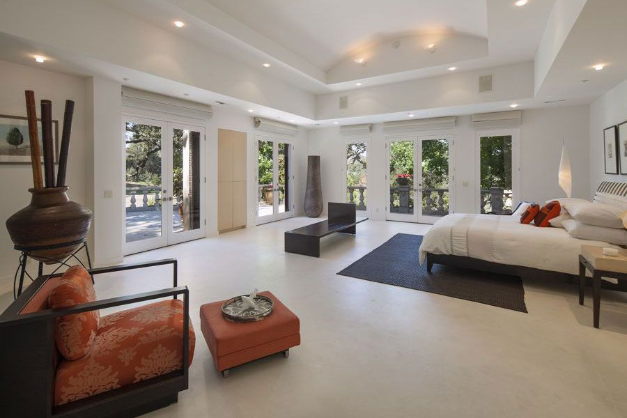 Contemporary Master Bedroom With Wall Sconce, Carpet, High Ceiling,  Concrete Floors Part 98