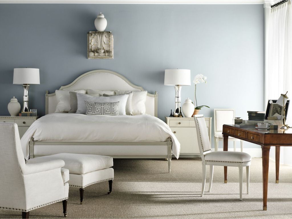 Restoration hardware bedroom - Art Deco Master Bedroom With Restoration Hardware Vintage French Nailhead Upholstered Side Chair Carpet