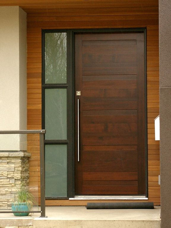 Contemporary front door with pathway stained glass for Big main door designs