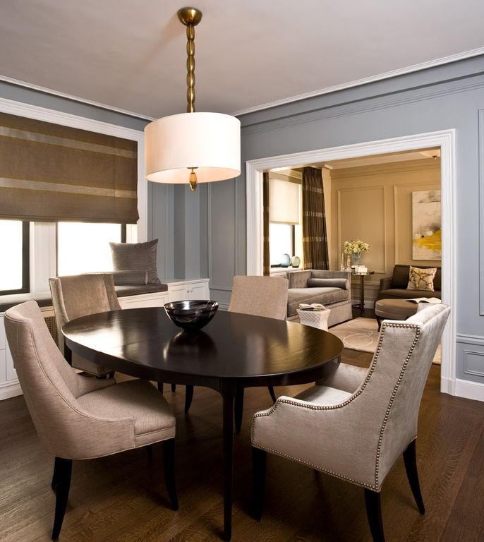 Dining Room Molding: Contemporary Dining Room With Hardwood Floors & Crown