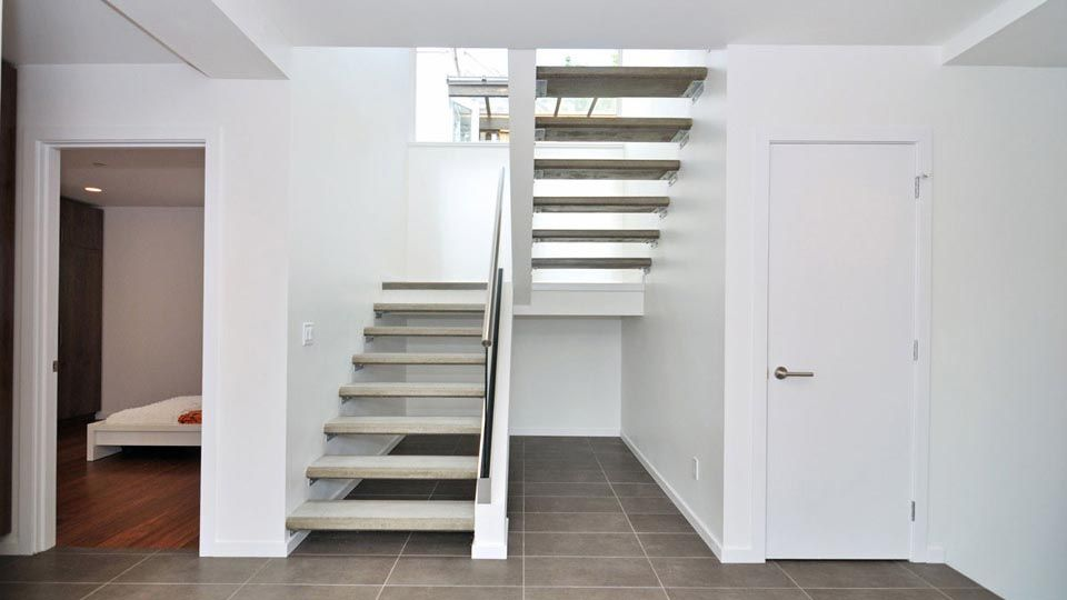Modern Staircase With Floating Staircase, Concrete Tile