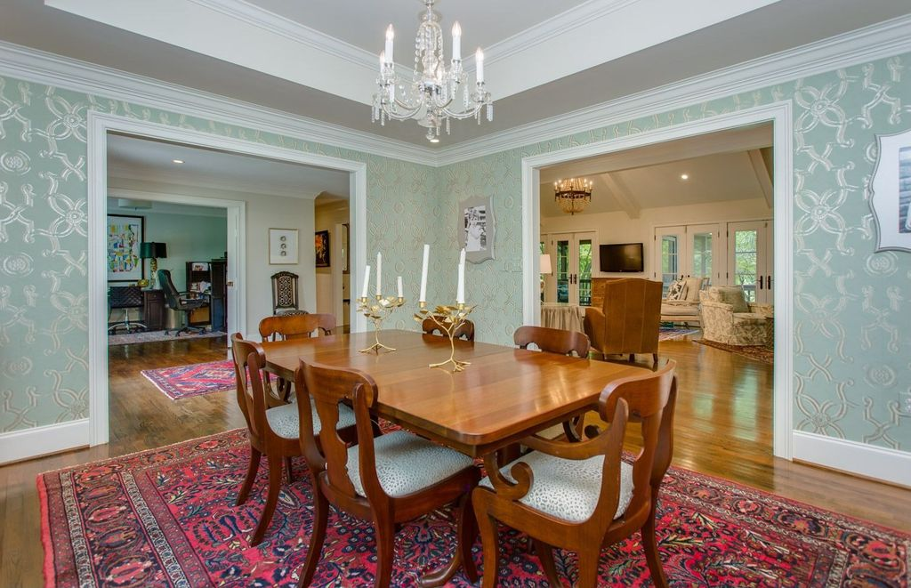 Traditional Dining Room With Crystal And Candle Mini Chandelier Hardwood Floors Crown