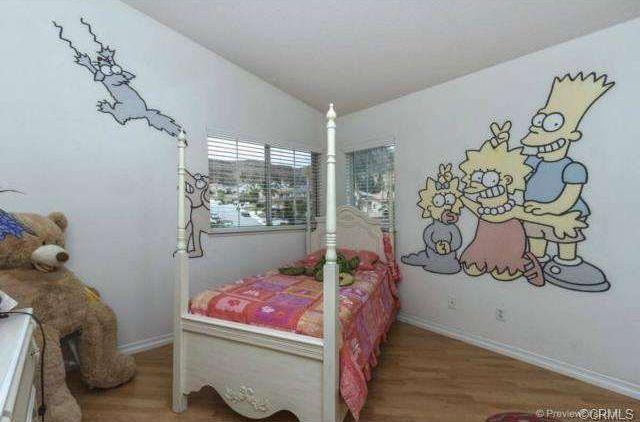Kids Bedroom Vinyl Flooring traditional kids bedroom with vinyl wall decal & hardwood floors