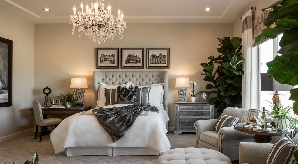 Transitional Master Bedroom master bedroom with chandelier & high ceiling | zillow digs | zillow