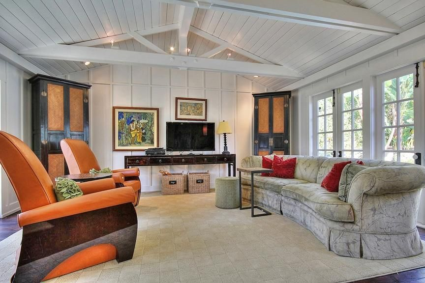 Cottage Living Room with flush light & painted beam ceiling in SANTA ...