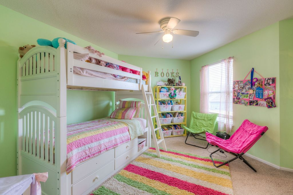 Kids Bedroom Carpet eclectic kids bedroom with carpet & ceiling fan in kansas city, ks