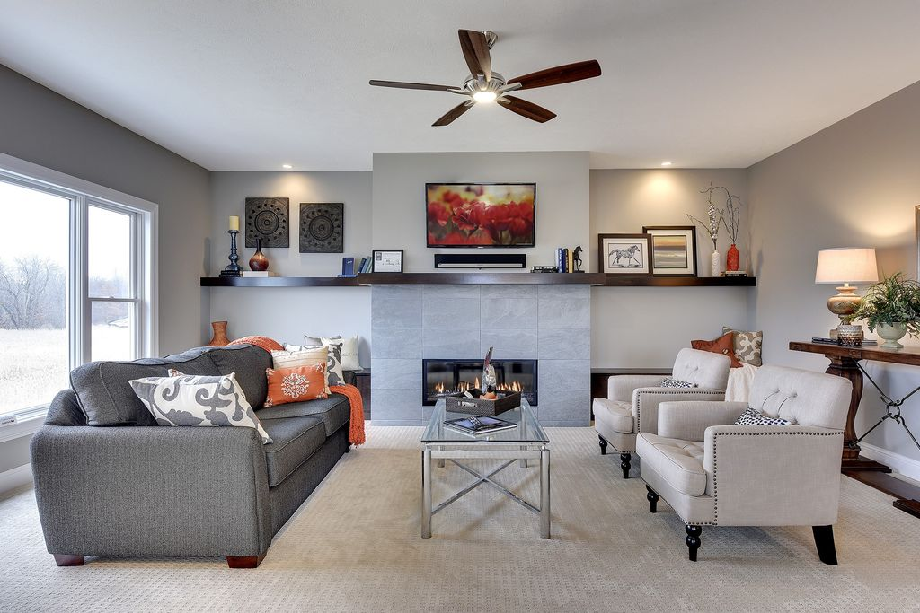 Living Room with flush light & Ceiling fan in CHASKA, MN | Zillow ...
