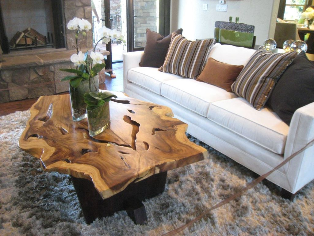 Rustic Living Room With Upholstered Sofa Uncommon Goods Teak Root Coffee Table Mercury Row