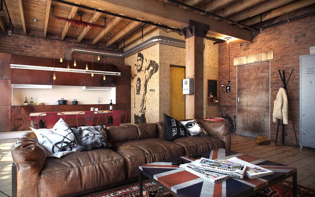 Industrial Living Room With Adesso Tacoma Coat Rack, Hardwood Floors, Napa  Oversized Sofa,