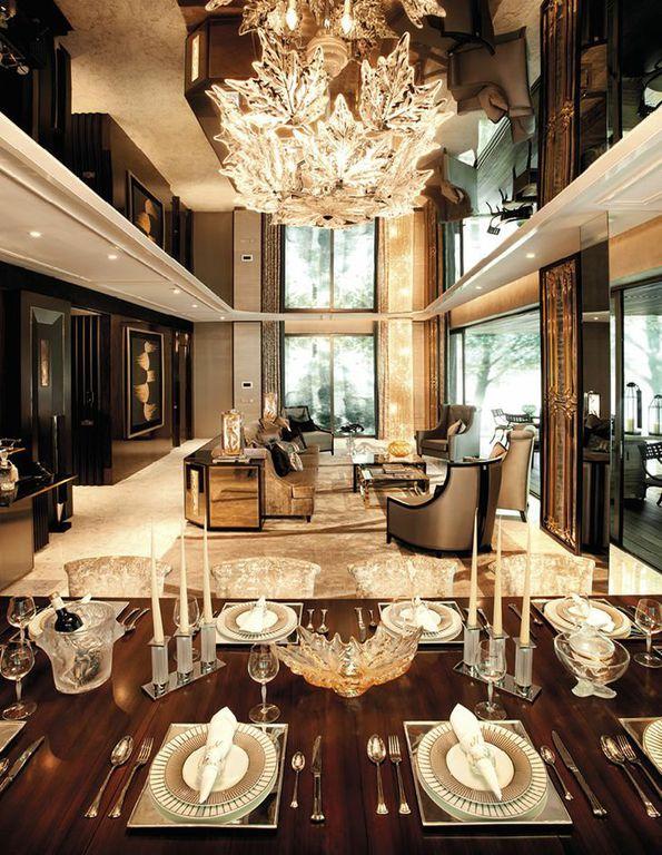 Art Deco Living Room with travertine tile floors & Chandelier ...