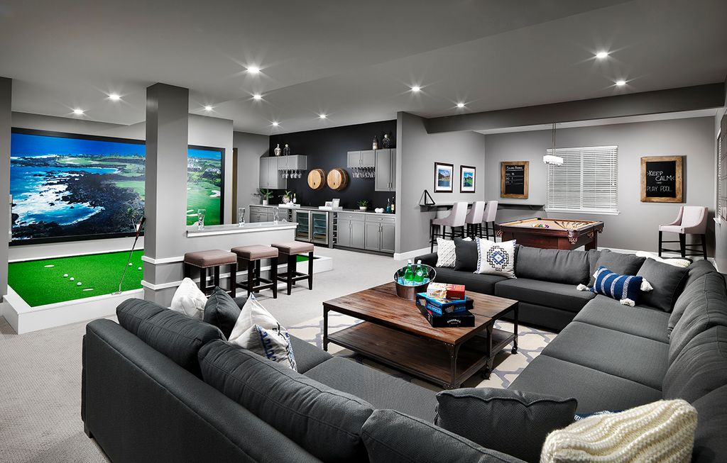 Contemporary game room with carpet built in bookshelf in for Game room floor plans ideas