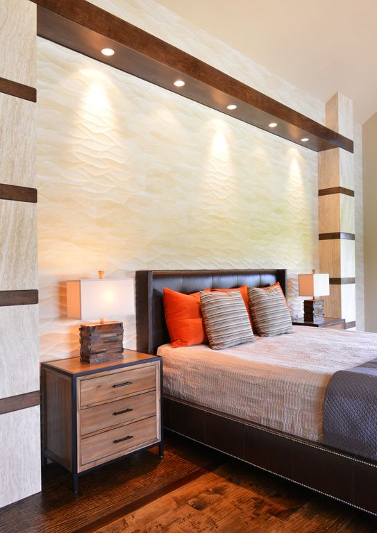 Contemporary Master Bedroom with High ceiling, Hardwood floors, interior  wallpaper