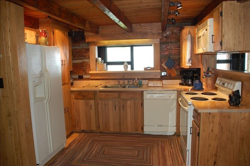 Rustic Kitchen With Wood Counters, U Shaped, Heirloom Wood Countertops,  Cloth Plastic