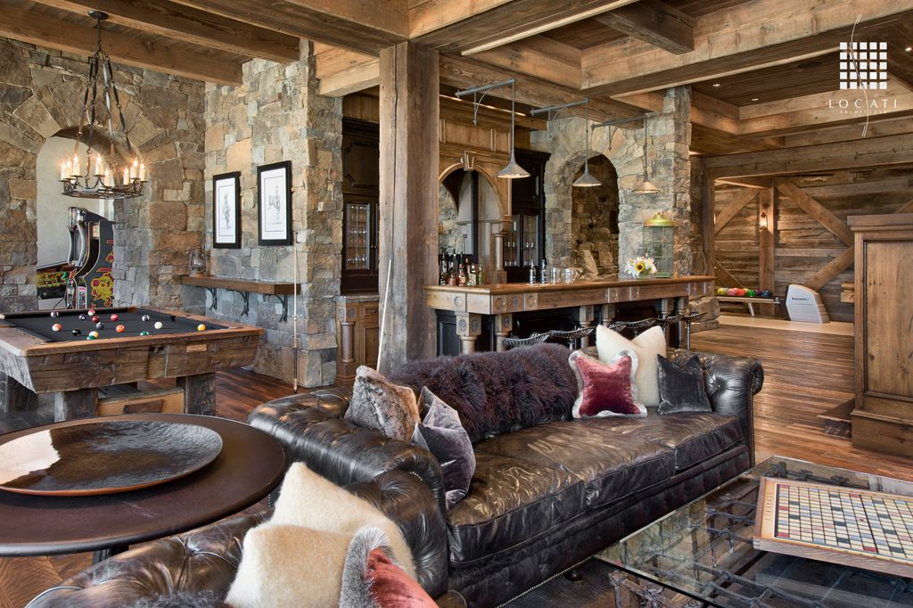 Rustic Game Room With Columns By Locati Architects