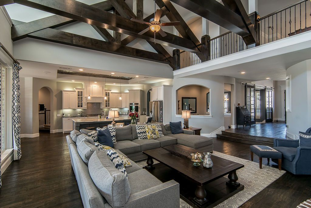 Traditional Living Room with Balcony & Exposed beam in ...