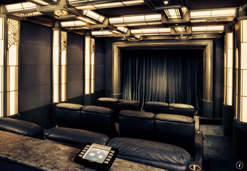 Art Deco Home Theater with Wainscoting  Box ceiling  Carpet  Crown molding. Art Deco Home Theater with Crown molding   Wainscoting   Zillow
