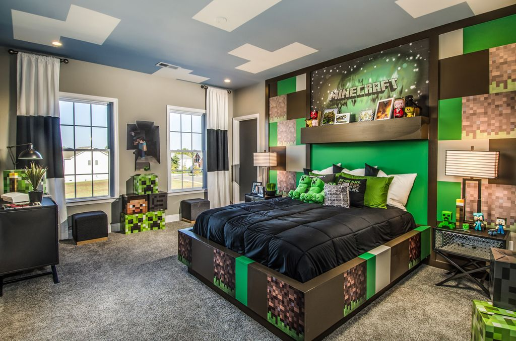 Exceptional Contemporary Kids Bedroom With Minecraft Box Head   Steve, Minecraft Player  Unofficial Inspired Decal,
