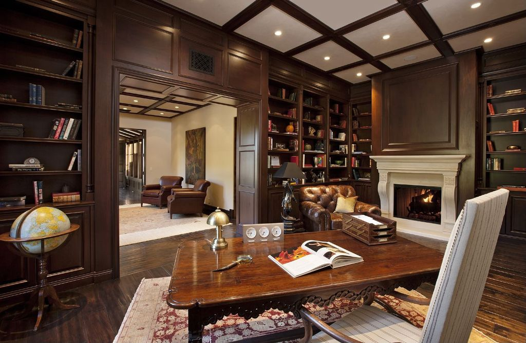 Wood Paneling Chair Rail Part - 45: Traditional Home Office With Chair Rail, Crown Molding, Mahogany Wood  Paneling, Box Ceiling