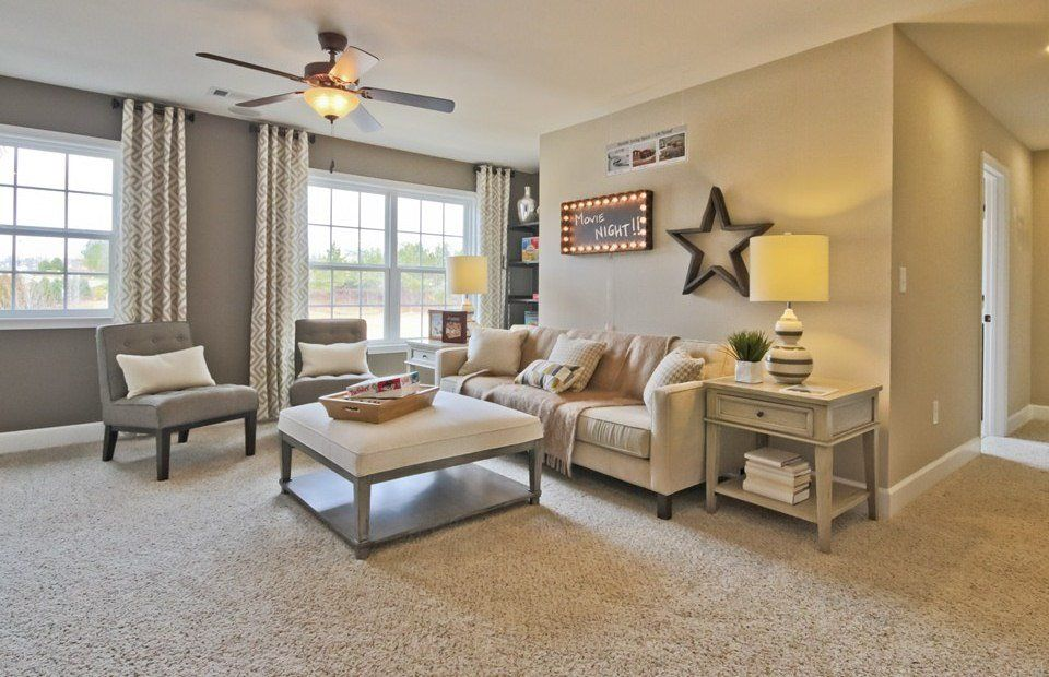 Living Room With High Ceiling Flush Light Carpet Cambria Premier Complete 12