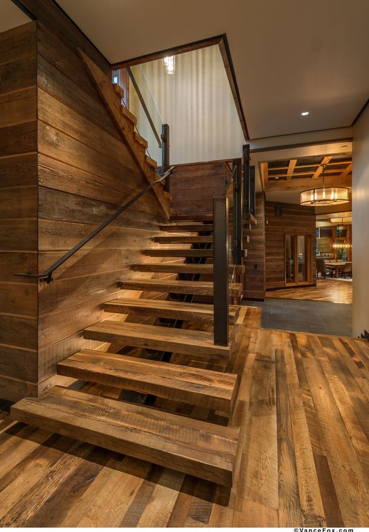 Rustic Staircase With Floating Staircase, High Ceiling, Hardwood Floors