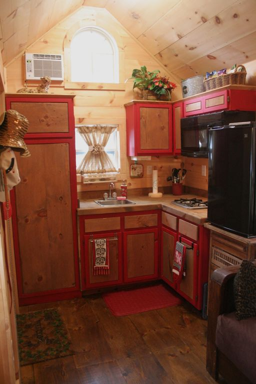 Country Room With Knotty Pine Cabinets, Painted Cabinets, Knotty Pine  Ceiling