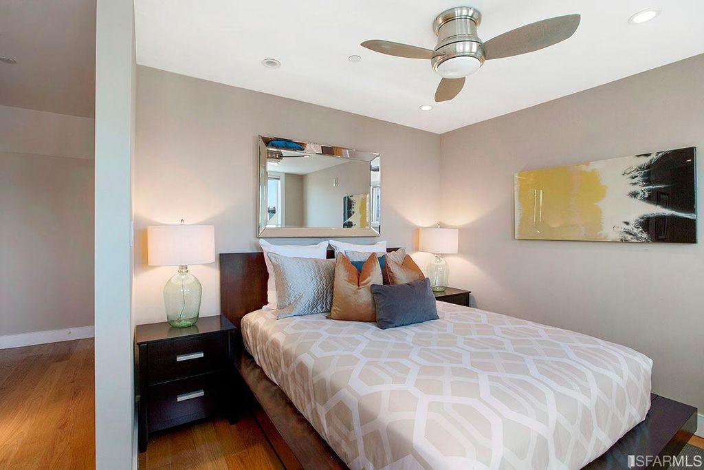 modern guest bedroom with ceiling fan minka aire fans concept ii flush 44 in - Minka Aire Fans