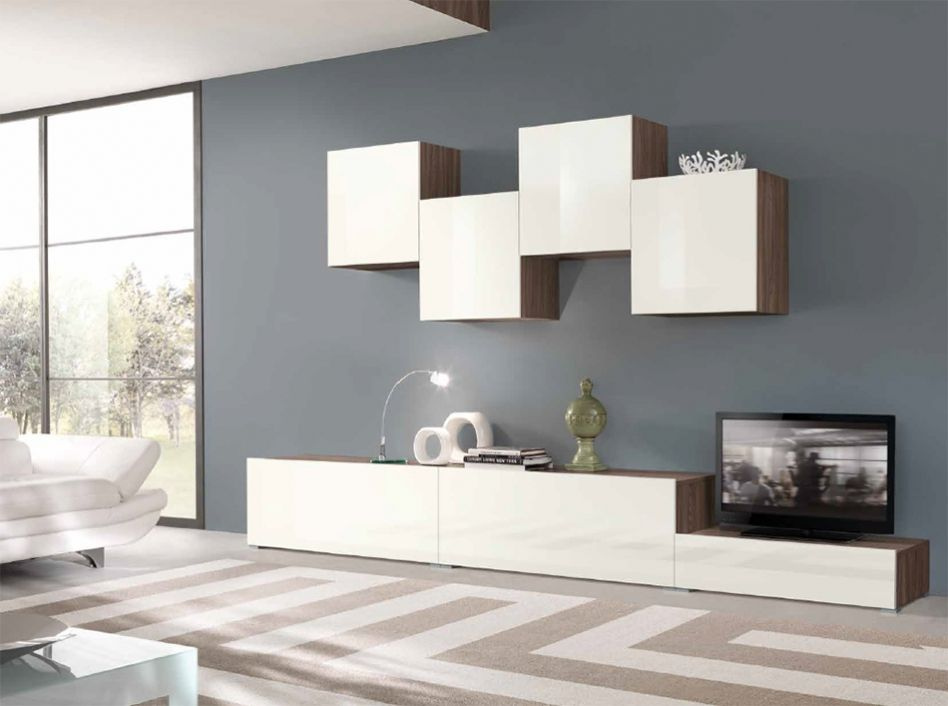 Modern Living Room With Calligaris Inbox 1525 Square Wall Storage Unit Carpet High
